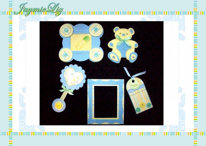 Handmade Scrapbooking Embellishments Baby Boy Theme FREE SHIPPING