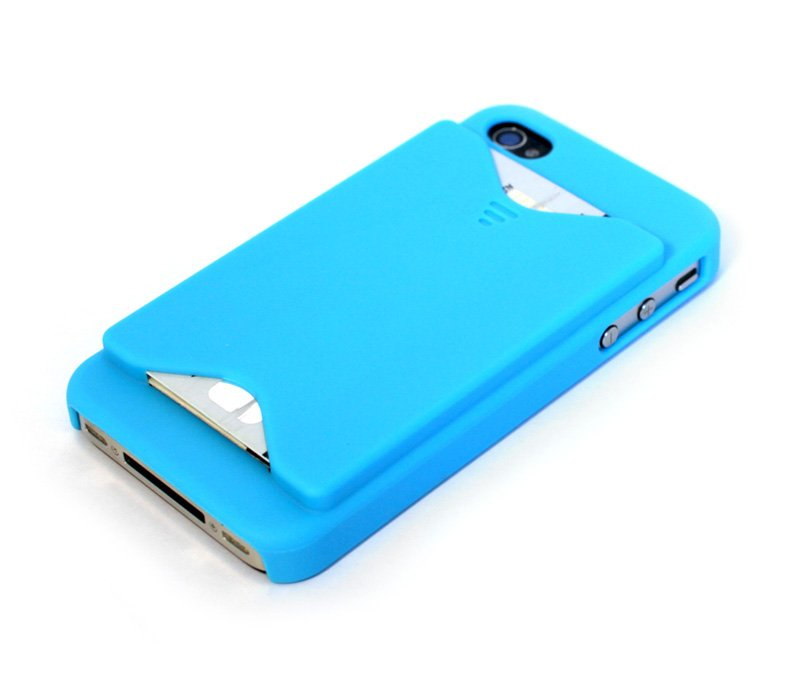 iPhone 4S Credit Card Case - Cerulean Blue