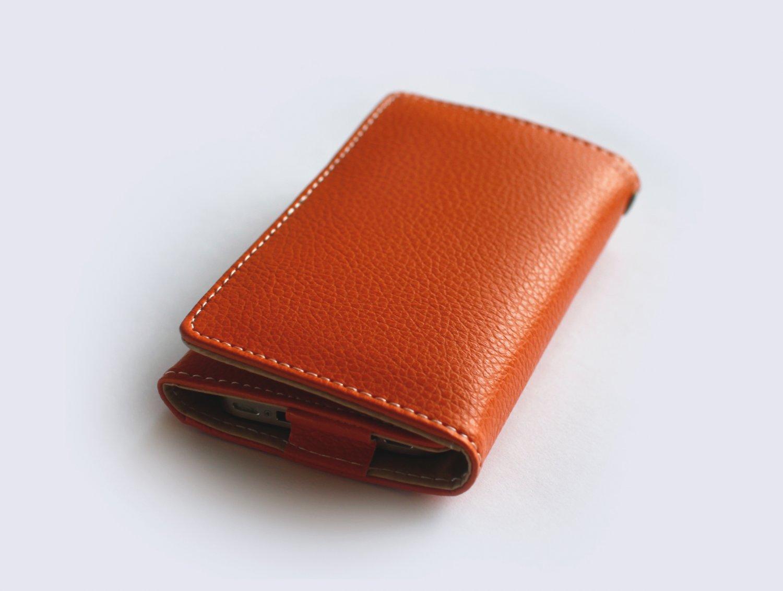 iPhone Leather Wallet - Orange