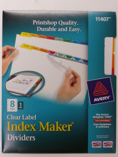 Lot of 2 - Avery 11407 Clear Label, Multicolor,  Index Maker Presentation Dividers, 8 Tabs
