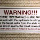 "RV Decal Warning! Before Operate Slide #500 1 7/8"" X 5"""