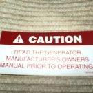 "RV Decal Caution Read Generator Man#509 1 5/8"" X 3 3/8"""