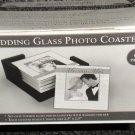 Havoc Gifts Wedding Glass Photo Coasters W/ Wood Holder Set 6 #636280