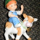 Enesco / John Deere Boy Riding A Calf Porcelain Figurine 2000 #892483
