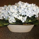 Bethlehem Lighted Blue Hydrangea In Off White Metal Planter With Timer #98011000