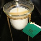Flora Lite White Gardenia Bell Jar Candle In Gold Hammered Metal Stand #05138