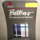 """American Greetings Forget Me Not """" Plaid""""  1 3/4"""" Button Pin Badge"""