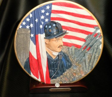 """HP """"Firefighter At W.T.C""""  Plate And Stand Firefighter Collection #14082"""