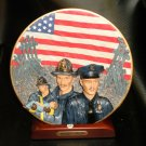 """HP """"Firefighter And Police Unite""""  Plate And Stand Firefighter Collection #14083"""