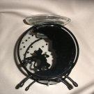 Fine Line Black Metal Cat / Moon Candle Oil Warmer Votive Holder #CL2810