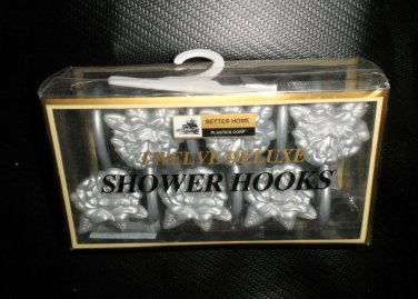 Better Homes Plastics Corp Silver Flower Deluxe Shower Hooks Set 12 #0447120