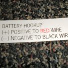 RV Information Decal Battery Hookup  #TL50002BH