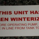 RV Information Decal This Unit Has Been Winterized #TL50002TUHBW