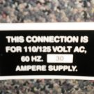 RV Information Decal Connection Is For 110/125 Volt AC #TL50002CIF110/125VAC