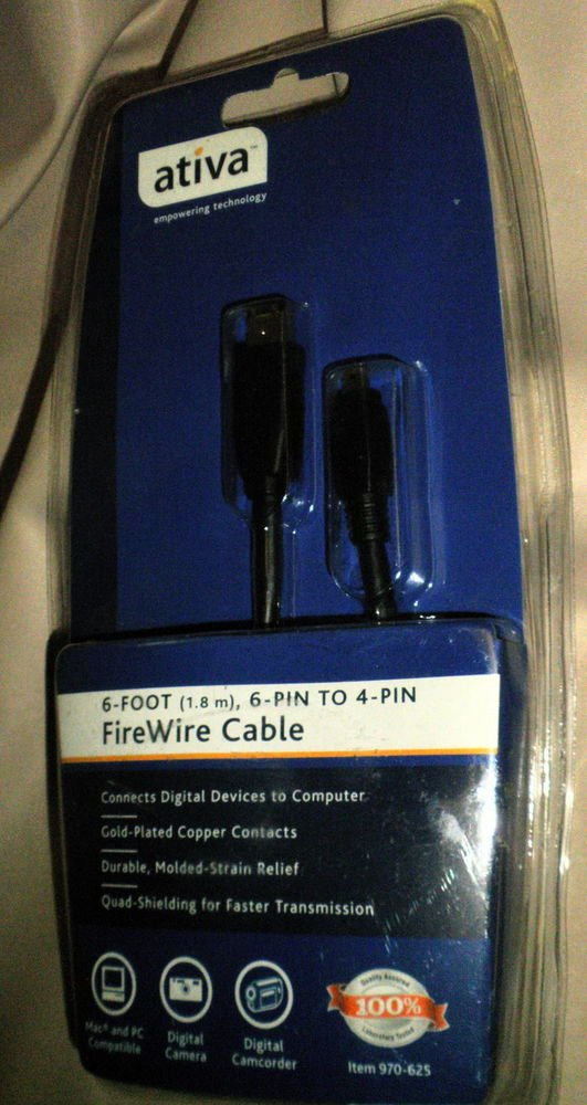 Ativa 6 Foot (1.8m) 6 pin to 4 Pin FireWire Cable #970-625
