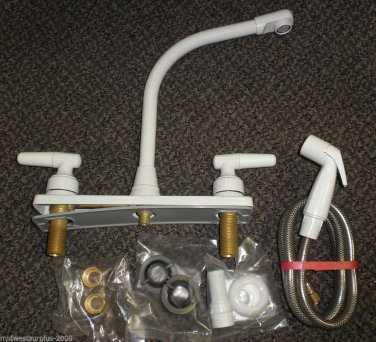 """Cast Products White Metal 8"""" Hi-Rise Faucet With Sprayer #20-8519"""