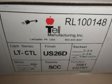 Tell Mfg. Lever Lockset LT-CTL Entry RL100148 CTL Lever 6 Way Latch