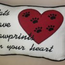 "A-List Petz "" Cats Leave Pawprints On Your Heart"" White Decorative Pillow #92012"