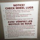RV Decal Notice! Check Wheel Lugs  English / Spanish