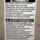RV Decal Danger: Turn Off All Pilot lights, Appliances & Ignitors English / Span