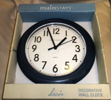 Mainstays Blue 8 75 Quot Plastic Battery Operated Wall Clock
