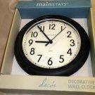 "Mainstays Black 8.75"" Plastic Battery Operated Wall Clock #339676BLACK"