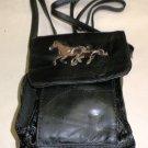 37 Elephants Black Leather Shoulder Bag With Horse Embroidery #8L83