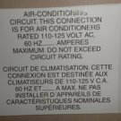RV Decal Air Conditioning Circuit. Connection Rated 110/125V  English / Spanish