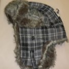 Faux Fur Gray Plaid Trapper Hats #H-9013G