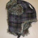 Faux Fur Purple Plaid Trapper Hats #H-9013P