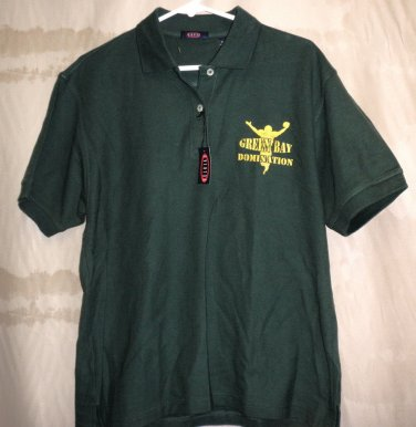 Overton Boys Green Bay Domination Collared 2 Button S/S Polo Shirt Size: Large