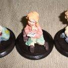 Mini Sweater Kids Figurines On Wood Base Set Of 3 #TMA46923