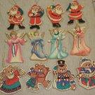 "Advance 4 1/2"" Wooden Painted Christmas Ornaments Set 12  Angel, Santa & Bear #3"