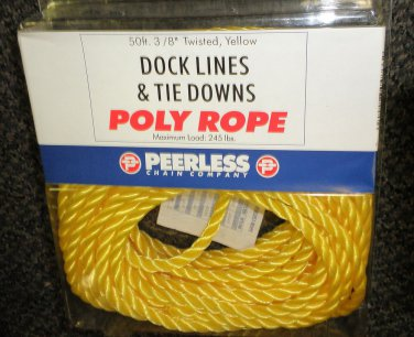 """Peerless Chain Co. Dock Lines & Tie Downs 3/8"""" Twisted Poly Rope 50' #2804866"""