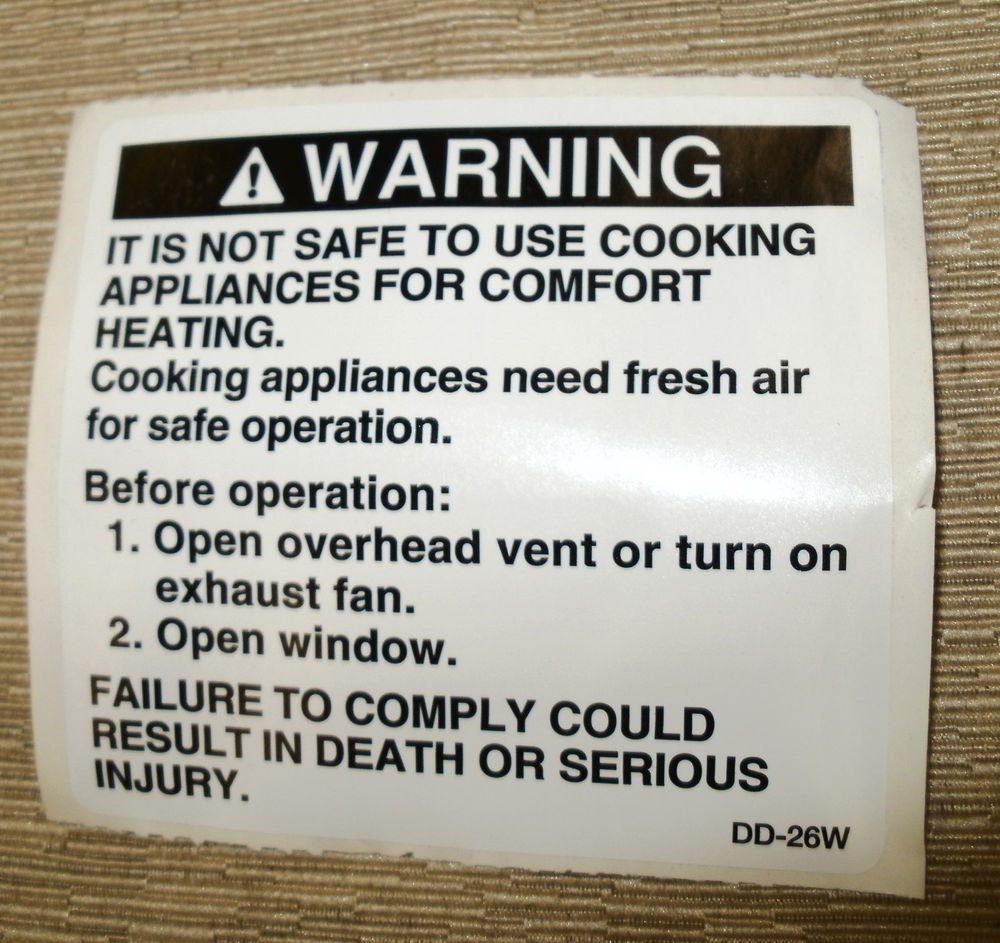 "RV Safety Decal ""WARNING:It Is Not Safe To Cooking"" Size: 3"" x 2 7/8"" #DD-26W"