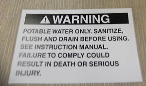 "RV Safety Decal ""WARNING: Potable Water Only""  UPC:710534473736"