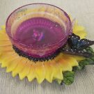 Sunflower / Butterfly Candle Holder With Gel Candle #TRC-261 UPC:830609001623
