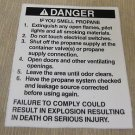"RV Safety Decal ""Danger If You Smell Propane"" UPC:710534473866"