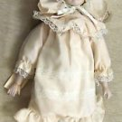 "Brinn's 14"" Bedtime Porcelain Doll With Mini Teddy Bear & Stand #PGHPA"
