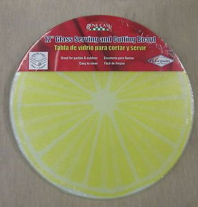 "Bene Casa 12"" Round Glass Lemon Serving & Cutting Board #BC-95847"
