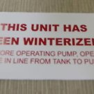 """RV Safety Decal """"This Unit Has Been Winterized"""" TL5002 UPC:710534474061"""