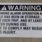 """RV Safety Decal """"Warning: Test Smoke Alarm"""" #AS-95 UPC:710534473682"""