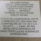"RV Safety Decal ""Air Conditioning Circuit "" Bi Lingual UPC:710534474214"