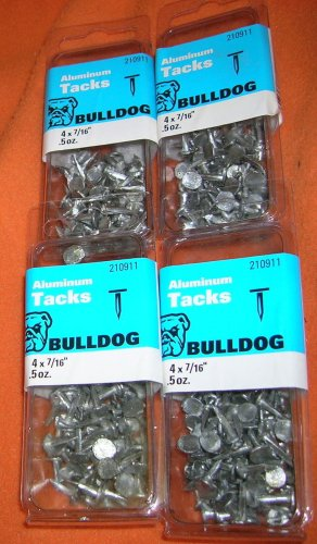 "Bulldog Hardware 4 X 7/16"" Aluminum Tacks Pack 4/.5 Oz #210911  UPC:070042109115"