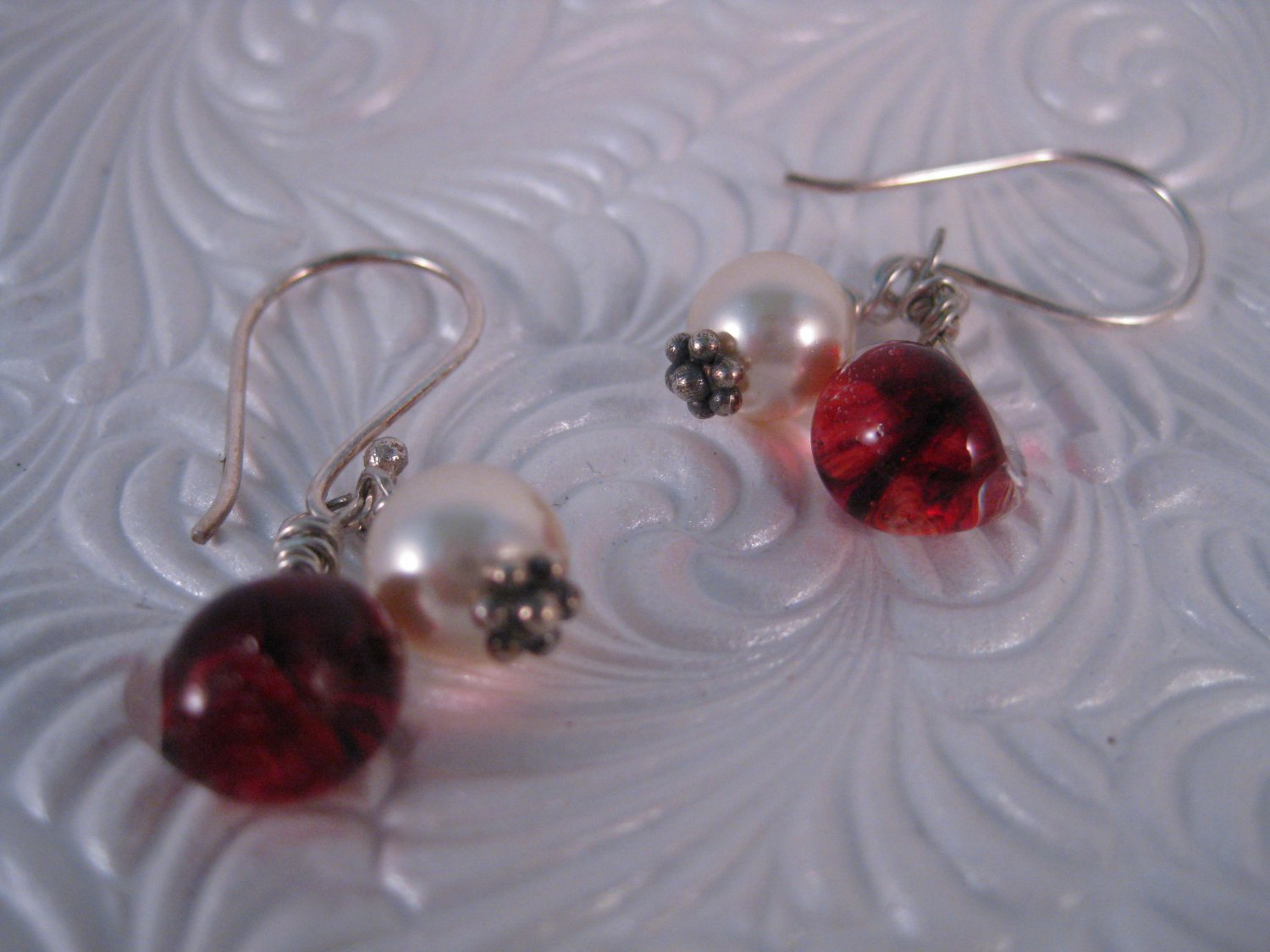 Red Glass and Pearl Drop Earrings