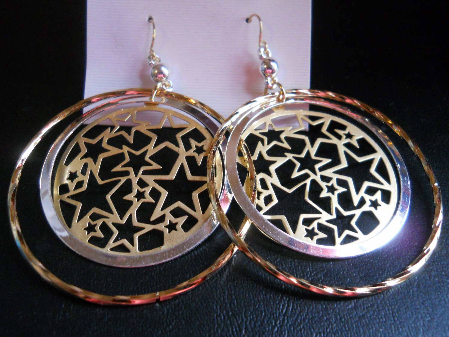 SILVER & GOLD TONED HOOPS W/STAR DECO