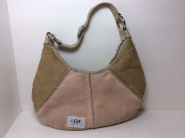 UGG PINK/BEIGE Suede & Shearling Hobo Bag