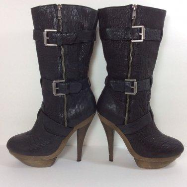 ELIZABETH AND JAMES Black Leather E-Gasp Double Platform Mid-Calf Boots Sz 9
