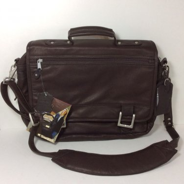 CANYON OUTBACK BRIEFCASE - SOFT BROWN LEATHER WITH MEETING FOLDER. NEW.