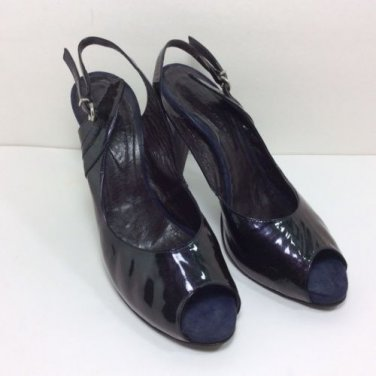 GAIA D'ESTE DARK PURPLE PATENT LEATHER HEELS SHOES OPEN TOES SZ 40